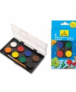 Adel Акварелни бои, 24 мм, 8 цвята
