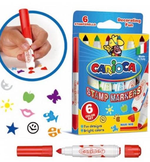 Carioca Маркери с печати, 6 цвята