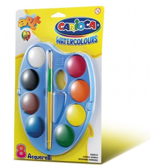 Carioca Водни бои палитра, 8 цвята