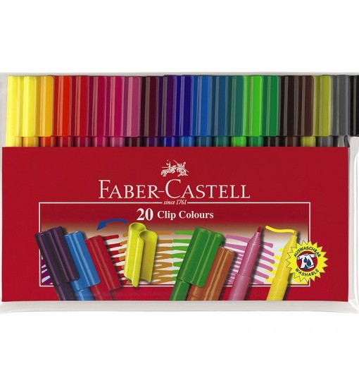 Faber-castell Флумастери Clip, 20 цвята