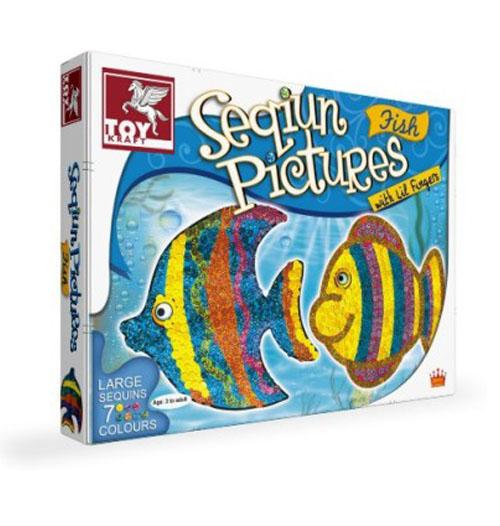 Детска креативна игра – Картини от паети - Риби