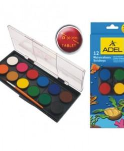 Adel Акварелни бои 30 мм, 12 цвята
